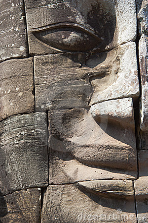Stone Buddha face - Angkor - Cambodia