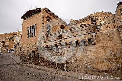 Stone buildings and donkey in Mardin old town in Turkey.