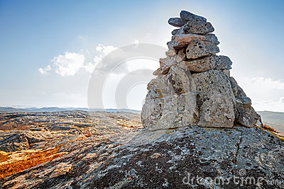 Stone cairn as a navigation mark