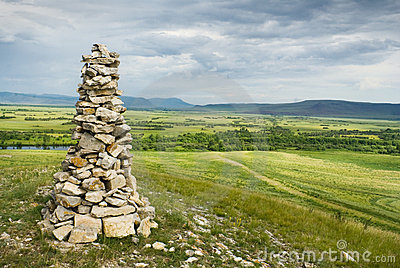 Stone cairn in Khakassia
