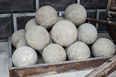 Stone cannon ball heap group