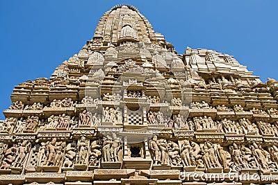 Stone carved temple in Khajuraho, Madhya Pradesh, India