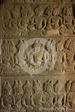 Stone Carved at the wall of Angkor Wat