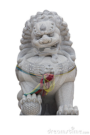 Free Stone Carving Lion Or Leo Chinese Isolated On White Stock Images - 59642114