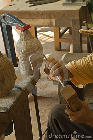 Stone carving in Siem Reap