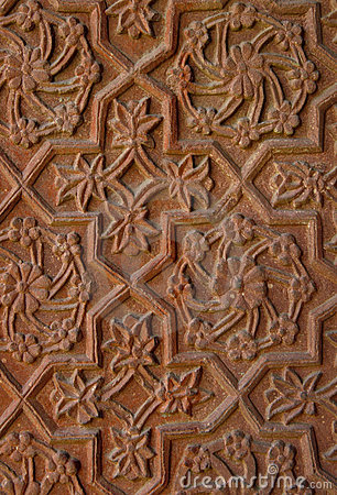 Stone carvings on the temple wall. India