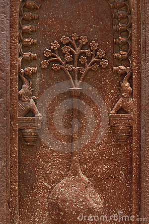 Stone carvings on the wall of Akbar s Tomb, India