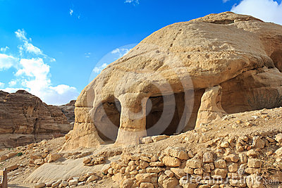 Stone cave home in Bab as-Siq, Petra
