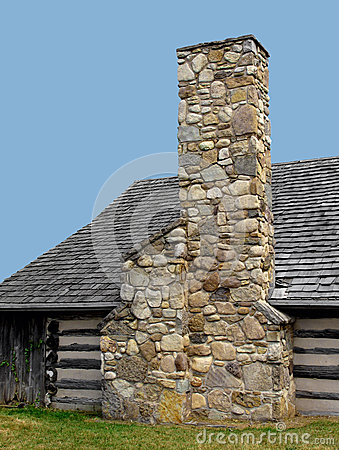 Stone Chimney On A Log Cabin Stock Images Image 27826974
