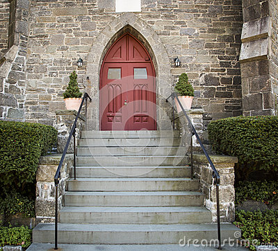 Free Stone Church Red Door Stock Images - 34868274