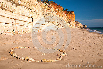 Stone circle on a beach near Lagos in Portugal