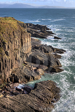 Stone cliffs near dingle in ireland.
