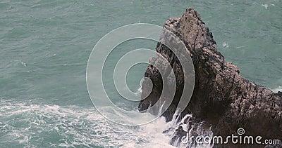 Stone Coast Italy. Big Waves at Mediterranean Sea Rocky Coast in Italy Winter stock video