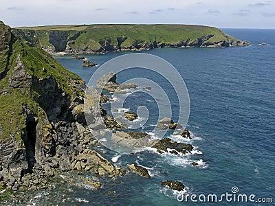 Stone coast near Gwithian, Cornwall, England