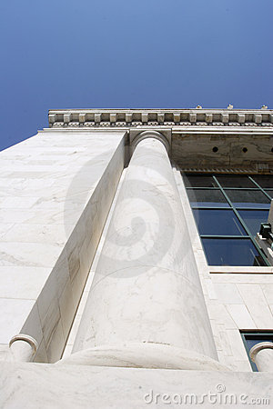 Stone column on financial building