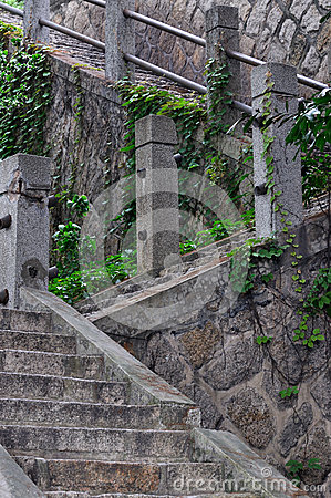 Stone and concrete stair