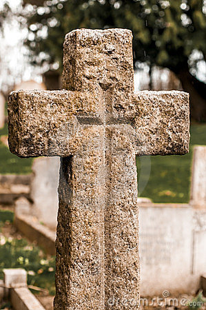 Stone cross in a cemetery
