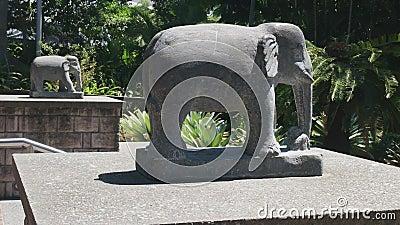 Stone Elefanten am nepalesischen Tempel am Südufer des Brisbane stock video footage