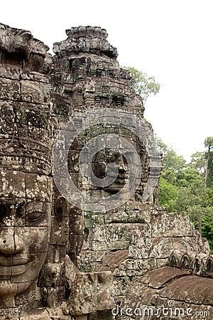 Stone Face on Bayon Temple at Angkor Thom, Cambodi
