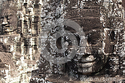 Stone face monument at Bayon temple, Cambodia