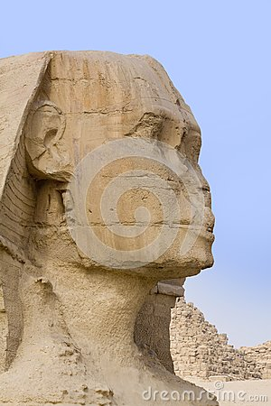 The stone face of the Sphinx