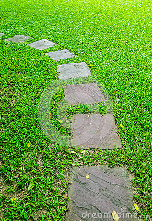 Free Stone Foot Path In Garden Stock Photo - 54938390