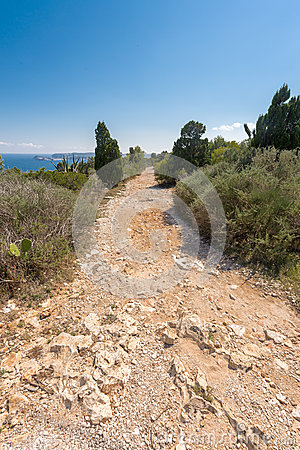 Stone footpath in the mountains leading to down