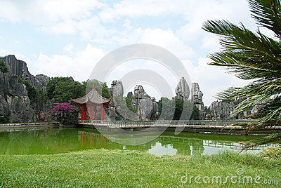 Stone forest with temple