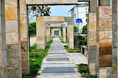 Stone gate and path