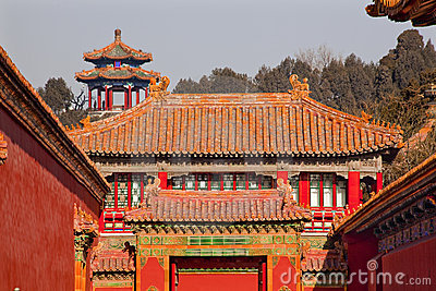 Stone Gate Yellow Roofs Forbidden City Beijing