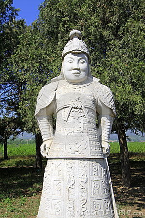 Stone general statue in the Eastern Royal Tombs of the Qing Dyna