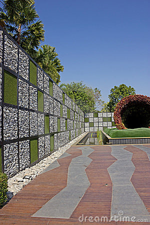 Stone and grass wall