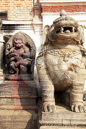 Stone Guardian and Hindu Deity, Bhaktapur, Nepal