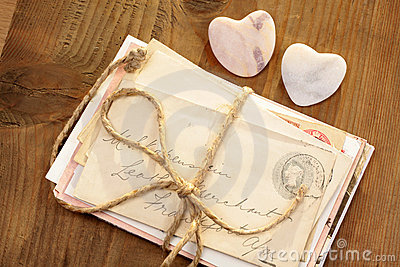 Stone hearts with tied letters