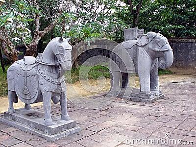 Stone horse and elephant