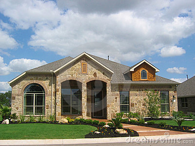 Stone House Wood Siding Royalty Free Stock Photography