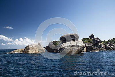 A stone island in the sea