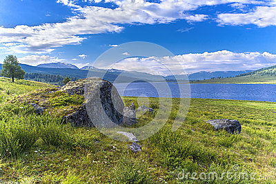 Stone on lake
