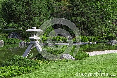 Stone lantern in a Japanese garden