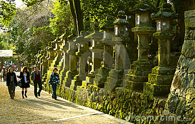 Stone lanterns tourists Kasuga Taisha Shrine Nara Editorial Stock Image