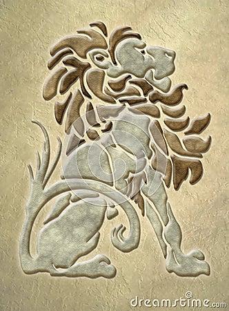 Stone lion architectural motif