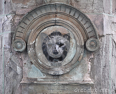 Stone lion head - Mexican fountain decoration Stock Photo