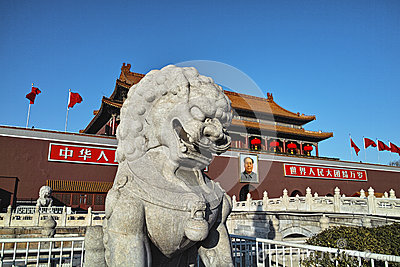 The stone lion statue and Tiananmen tower Editorial Image