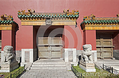 Stone lions and gates