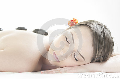 Stone massage in the day spa