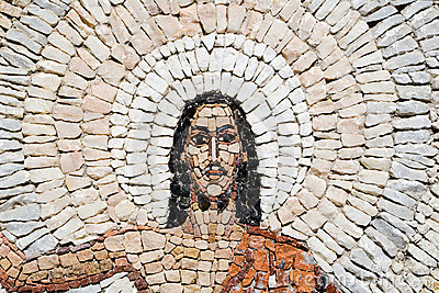 A stone mosaic  of Jesus Christ resurrection