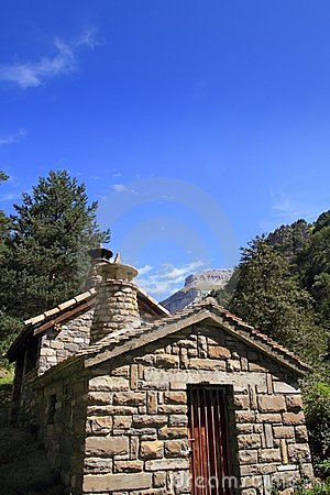Stone mountain house in Pyrenees mountains