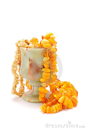 Stone (Onyx) Goblet with Amber Beads