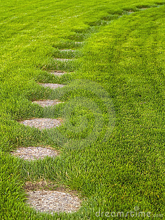 Stone path through a green grassy lawn