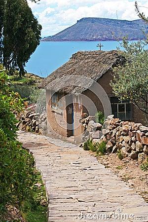 Stone path on Taquile Island in Lake Titicaca, Per